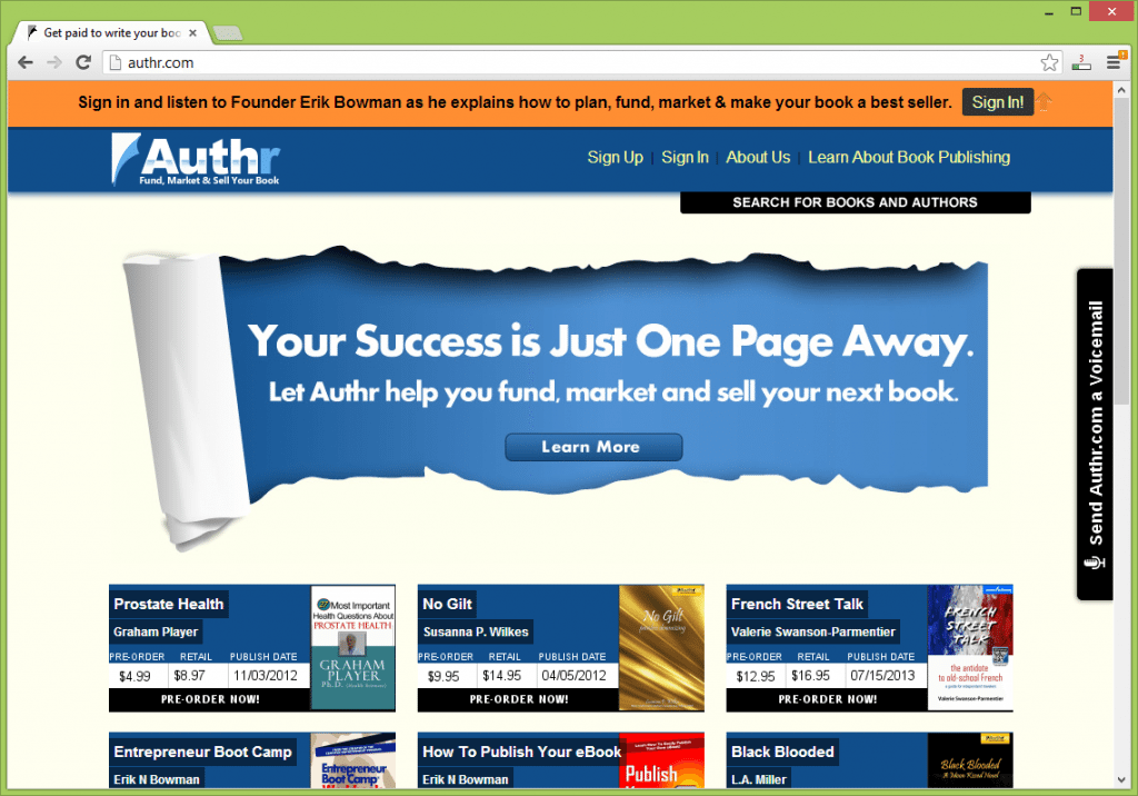 Authr.com fund, market and sell your book