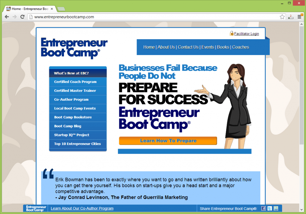 Providing a comprehensive look at all aspects of running a business, Entrepreneur Boot Camp® offers training, coaching and a series of business books all offering essential business lessons and tips to help entrepreneurs in any profession or industry succeed.