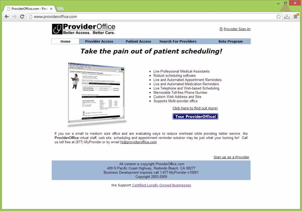 Provider Office is an outsourced health and wellness appointment scheduling solution