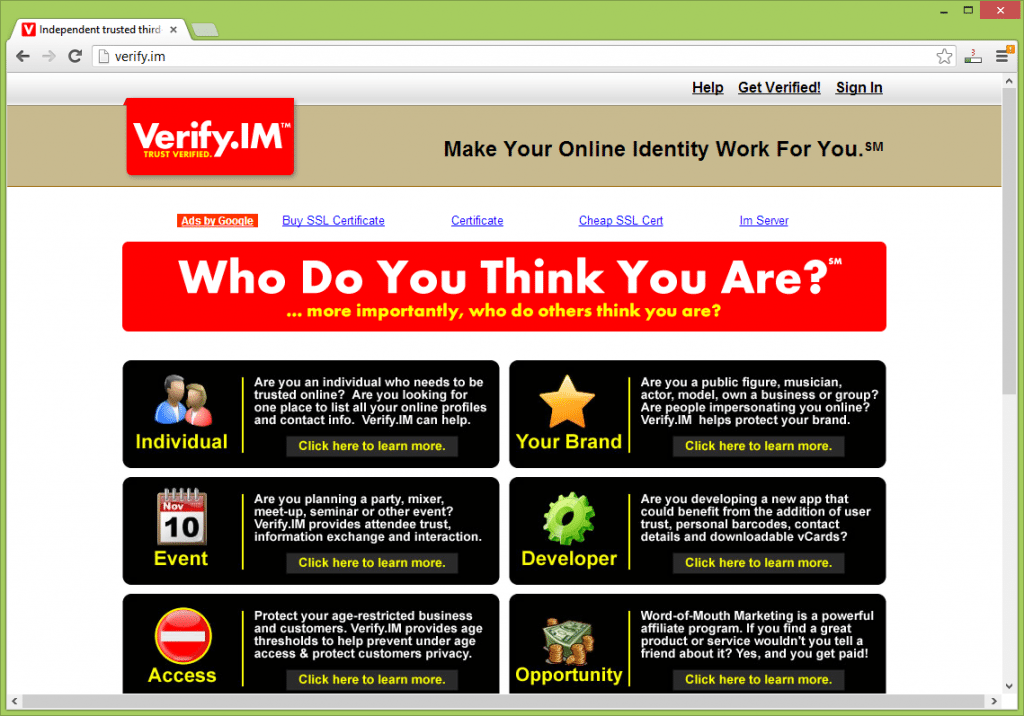 Verify.IM Online Identity management